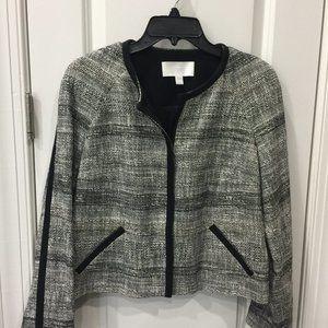 BOSS Hugo Cropped Black and White Tweed Jacket